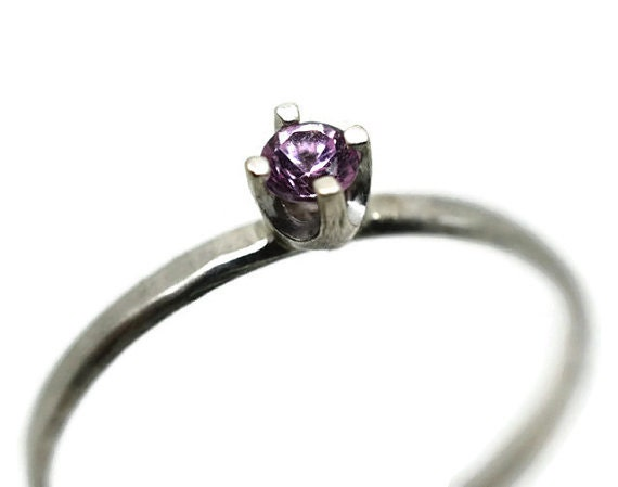 Tiny Pink Sapphire Ring Simple Engagement Ring by fifthheaven