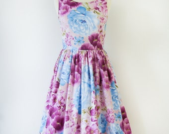 Custom made floral bridesmaid dress, violet dress, cotton dress, vintage inspired bridesmaid dress