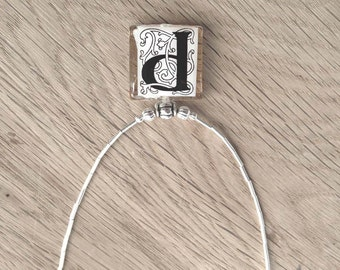 "Initial Letter ""P"" Monogram Glass Tile Pendant With Liquid Silver Beads Necklace"
