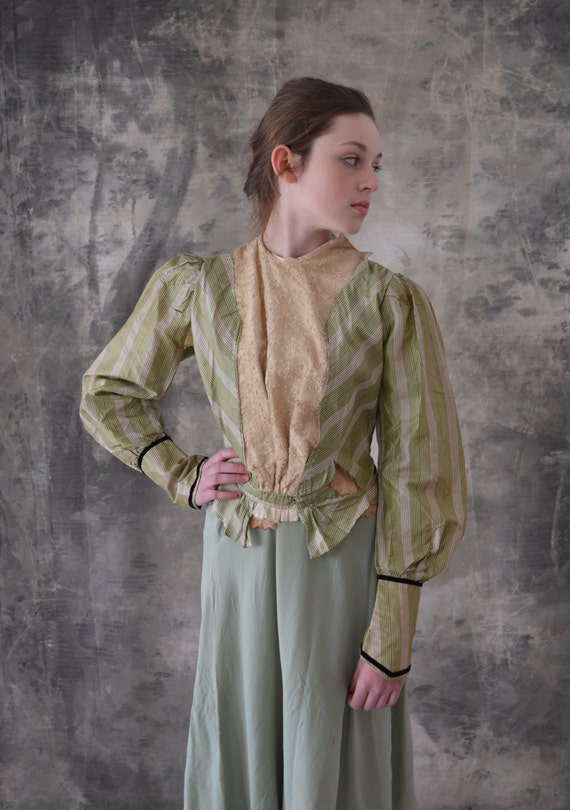 Victorian Green Striped Blouse