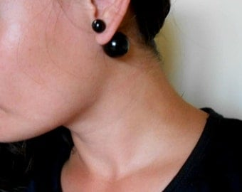 Double Sided Earrings-Fake Gauges, Double Bead Earrings, Black, Contemporary Jewelry,