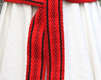 Red with Black Sash - Inkle Weaving