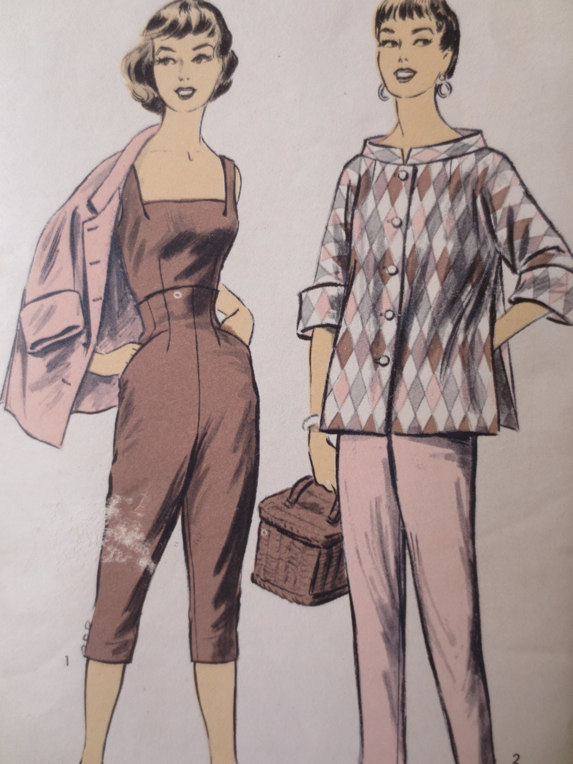 Vintage Advance 7074 Sewing Pattern 1950s Playsuit Pattern