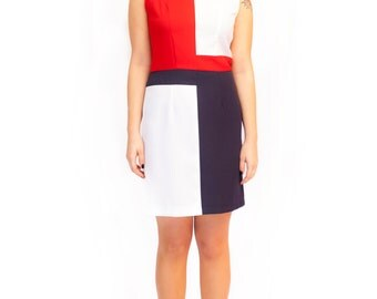 Mod red white blue dress A line shift dress 60s patriotic dress