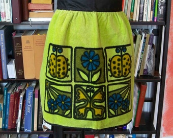 Vintage 1970s Apron Unused Lime Ladybugs Green Avocado Blue Terry