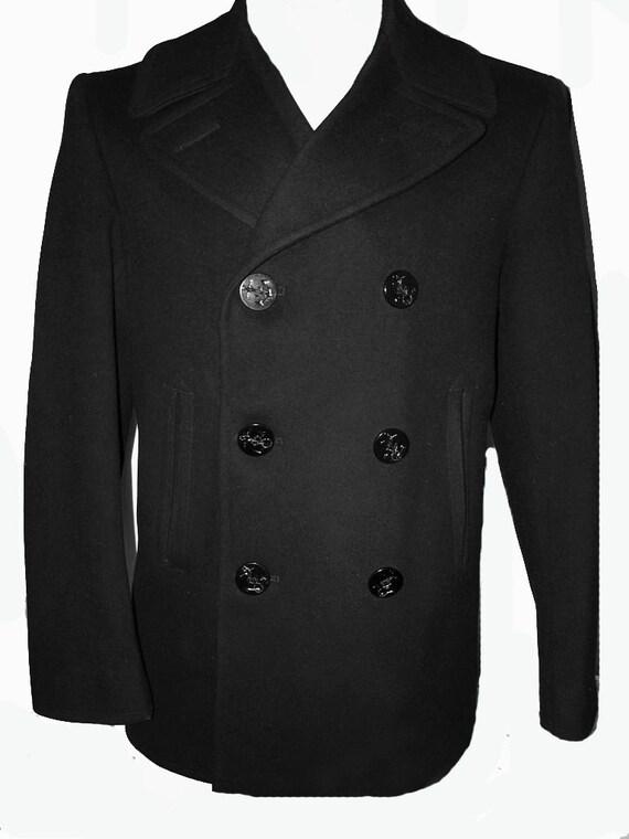 Mens Vintage Military Issue Peacoat Pea Coat 40 R M Black Wool