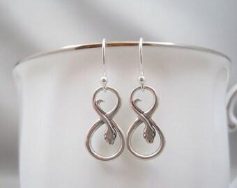 Sterling Silver Infinity Snake Earrings | Infinity Earrings | Snake Earrings | Serpent Earrings | Talisman Earrings