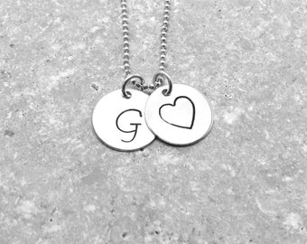monogram necklace initial necklace letter g necklace heart necklace sterling silver large initial necklace charm necklace g pendant