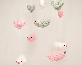 Baby Mobile Bird, Crochet Bird Mobile, Nursery Baby Mobile, Nursery Decor, Crib Mobile, Baby Shower Gift
