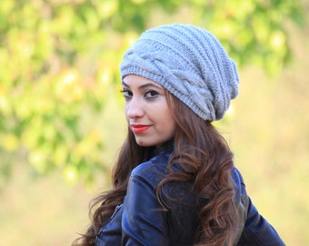 Cable knit hat for women, Slouch beanie women, Slouch hat gray