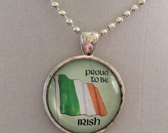 Irish Flag Pendant Necklace