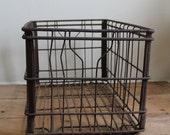 Vintage Rusty Metal Dairy Milk Crate