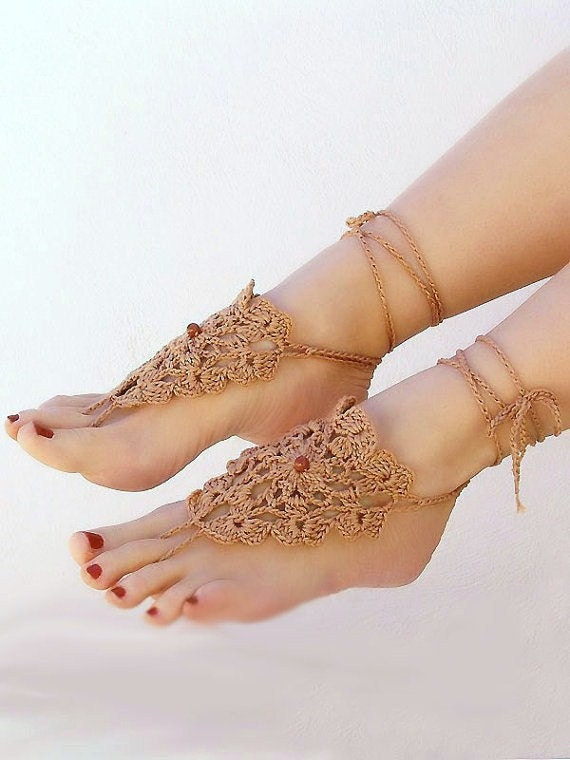 Crochet Milk Chocolate barefoot sandals, barefoot sandles, nude shoes, foot jewelry, sexy gypsy feet, victorian lace, steampunk, beach pool