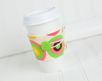Reusable Fabric Coffee Sleeve, Pink Green and Brown Circle Print for Girls