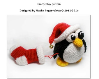 Christmas Penguin - pdf crochet toy pattern - amigurumi pattern (tutorial)