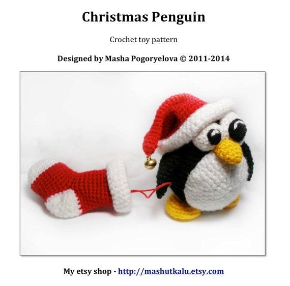 Tutorial Amigurumi Pinguino : Christmas Penguin pdf crochet toy pattern amigurumi