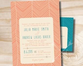 MODERN HERRINGBONE Rustic Wedding Invitation and Response Card Invitation Suite