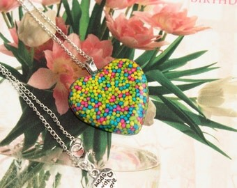 Heart Sprinkles Necklace ,Resin Heart Necklace , Kawaii, Hipster, Handmade By: Tranquilityy