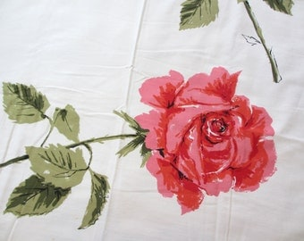 Pink rose. Vtg 1960s 1970s tablecloth / pink tea rose /  large scale / summer bright colors / rectangular 64 x 50 inch