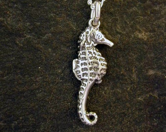 Sterling Silver Sea Horse Pendant on Sterling Silver Chain.