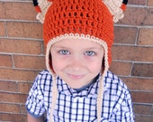 Orange  Fox Earflap Hat Beanie for Kids or Adults - You choose the color Accessories by Julian Bean