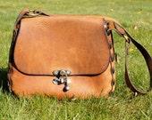 Huge Distressed Leather Saddle Bag Hippie 70's