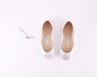 Silver Ballet Flats | Silver Shoes | Upcycled Leather | Wedding Flat Shoes...Ready to Ship...LAST PAIR ... eu 37/ us 6.5