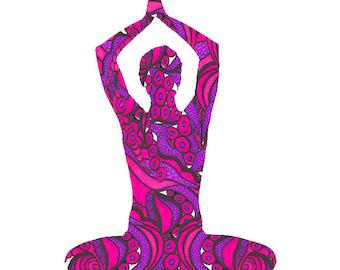 Zen Art, Yoga Pose Poster, Yoga Poster, Zen Poster Custom Sizes, Custom Colors, Zen Painting