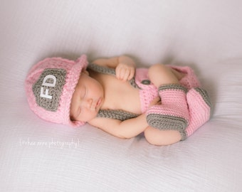 Firefighter Helmet in Pink, Gray and White with Matching Boots and Diaper Cover Available in Newborn to 12 Month Size- MADE TO ORDER