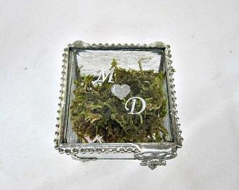2x2 Personalized Glass Box, Ring Bearer Box, Engagement Ring Box