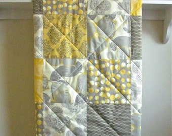 Baby Quilt  Modern - Optic Blossom Yellow - Minky Back - Gender Neutral Baby Quilt in Gray, Mustard Yellow, Ivory, Nursery Bedding