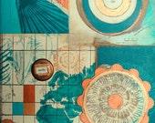 Nearby, mixed-media/acrylic on canvas, map art