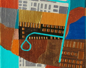 Open Buildings, mixed-media/acrylic on canvas, map art