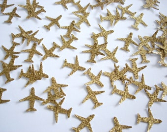 100 Mini Glitter Gold Airplane Confetti, Time Flies, Birthday Party Decoration - No384