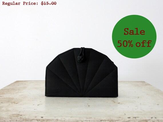 SALE Vintage Clutch / 1980s Black Evening Bag