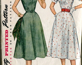 Simplicity 4284 Vintage 50s Full Shirt Dress Shirtdress Sewing Pattern B37