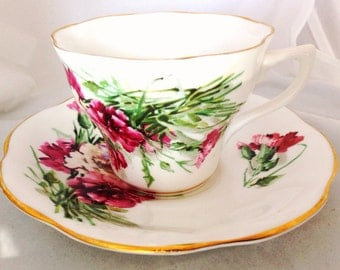 Pink Carnation English Fine Bone China Vintage Teacup & Saucer Set - Dianthus Carnations - Fuchsia - gilded edge - deep pink magenta rose