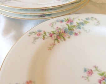 4 French Limoges Sandwich Plates - Bone China Dessert Meadow wild flowers - green pink white blue shower bridal - Bawo Elite Pouyat Dotter