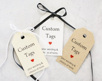 Custom Tags - Custom Wedding Favor Tag, Gift Tag with a Custom Saying, Bridal Shower Hang Tag, Packaging, Heart, Party  - Set of 25 (SMGT)