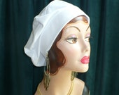 White Cotton Jersey Beret, Chemo Hat