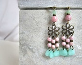 SALE !!!!! sugar flowers- earrings with sweet  colored beads and a flower