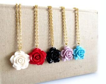 Gold Rose Necklace - You Choose Color & Length
