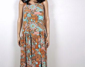 80s Vintage Tribal Dress~ 1980s Slouchy Rayon Drop Waist Dress~ S M L