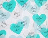 Customized Wedding Confetti Jumbo Hearts - translucent vellum paper confetti, for wedding decor, parties, special occassion