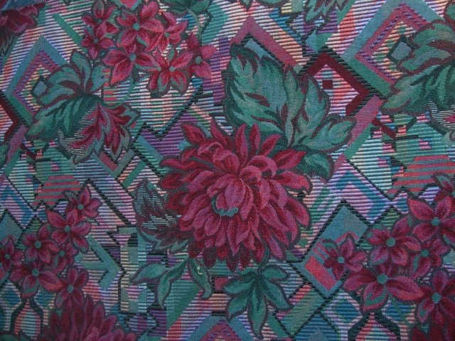 54 Wide Vintage Geometric Print Upholstery Fabric Mod Print Retro