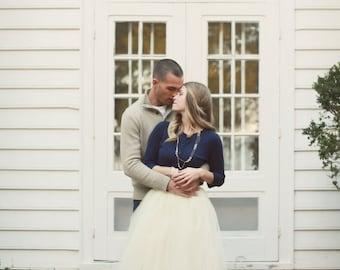 Ivory Tulle Skirt by Kellie Falconer // Engagement Photo Skirt  // Flat Waistband