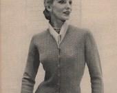 1950's Vintage Crochet Women's Cardigan Pattern PDF
