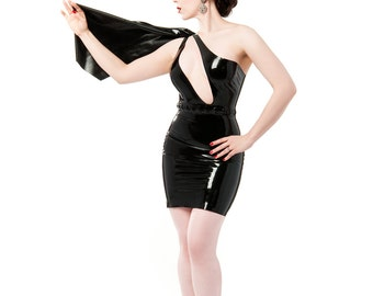 Madeline draped cape latex dress