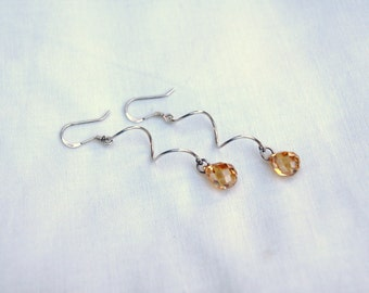 """Faceted Peach Cubic Zirconia Tear Drops with Sterling Silver Squiggle Dangle Earrings--""""Squiggles"""""""