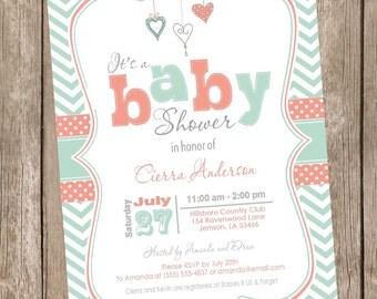 Coral and Mint baby shower invitation, chevron invitation, baby shower invitation, hearts, typography, printable invitation mc1